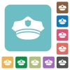 Police hat rounded square flat icons - Police hat white flat icons on color rounded square backgrounds