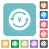 Yen pay back guarantee sticker rounded square flat icons - Yen pay back guarantee sticker white flat icons on color rounded square backgrounds