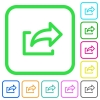 Export symbol vivid colored flat icons - Export symbol vivid colored flat icons in curved borders on white background