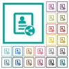 Share contact flat color icons with quadrant frames - Share contact flat color icons with quadrant frames on white background