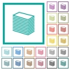 Paper stack flat color icons with quadrant frames - Paper stack flat color icons with quadrant frames on white background