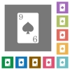 Nine of spades card square flat icons - Nine of spades card flat icons on simple color square backgrounds