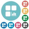 Component statistics flat round icons - Component statistics flat white icons on round color backgrounds