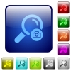 Search photo color square buttons - Search photo icons in rounded square color glossy button set