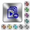 Print playlist rounded square steel buttons - Print playlist engraved icons on rounded square glossy steel buttons