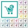 Checkout with Euro cart flat color icons with quadrant frames - Checkout with Euro cart flat color icons with quadrant frames on white background
