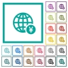 Online Yen payment flat color icons with quadrant frames - Online Yen payment flat color icons with quadrant frames on white background