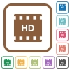 HD movie format simple icons in color rounded square frames on white background - HD movie format simple icons