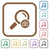 Search photo simple icons in color rounded square frames on white background - Search photo simple icons