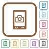 Mobile photography simple icons - Mobile photography simple icons in color rounded square frames on white background