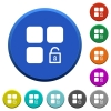 Unlock component beveled buttons - Unlock component round color beveled buttons with smooth surfaces and flat white icons