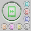 Mobile media fast forward push buttons - Mobile media fast forward color icons on sunk push buttons