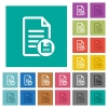 Save document square flat multi colored icons - Save document multi colored flat icons on plain square backgrounds. Included white and darker icon variations for hover or active effects.