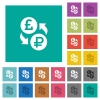 Pound Ruble money exchange square flat multi colored icons - Pound Ruble money exchange multi colored flat icons on plain square backgrounds. Included white and darker icon variations for hover or active effects.