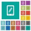 Mobile memo square flat multi colored icons - Mobile memo multi colored flat icons on plain square backgrounds. Included white and darker icon variations for hover or active effects.