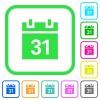 Calendar vivid colored flat icons - Calendar vivid colored flat icons in curved borders on white background