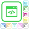 Programming code in software window vivid colored flat icons - Programming code in software window vivid colored flat icons in curved borders on white background