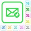 Pin mail vivid colored flat icons - Pin mail vivid colored flat icons in curved borders on white background
