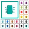 Integrated circuit flat color icons with quadrant frames - Integrated circuit flat color icons with quadrant frames on white background