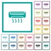 Air conditioner flat color icons with quadrant frames - Air conditioner flat color icons with quadrant frames on white background