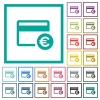 Euro credit card flat color icons with quadrant frames - Euro credit card flat color icons with quadrant frames on white background