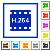 H.264 movie format flat framed icons - H.264 movie format flat color icons in square frames on white background
