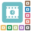Movie playing time rounded square flat icons - Movie playing time white flat icons on color rounded square backgrounds