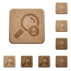 Search in progress wooden buttons - Search in progress on rounded square carved wooden button styles
