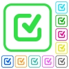 Checkmark vivid colored flat icons - Checkmark vivid colored flat icons in curved borders on white background