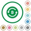 Bitcoin pay back guarantee sticker flat icons with outlines - Bitcoin pay back guarantee sticker flat color icons in round outlines on white background