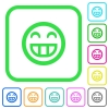 Laughing emoticon vivid colored flat icons - Laughing emoticon vivid colored flat icons in curved borders on white background