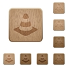 Traffic cone wooden buttons - Traffic cone on rounded square carved wooden button styles