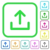 Upload symbol vivid colored flat icons - Upload symbol vivid colored flat icons in curved borders on white background