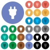 Power connector round flat multi colored icons - Power connector multi colored flat icons on round backgrounds. Included white, light and dark icon variations for hover and active status effects, and bonus shades on black backgounds.