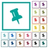 Push pin flat color icons with quadrant frames - Push pin flat color icons with quadrant frames on white background