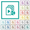 Share playlist flat color icons with quadrant frames - Share playlist flat color icons with quadrant frames on white background
