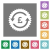 Pound pay back guarantee sticker square flat icons - Pound pay back guarantee sticker flat icons on simple color square backgrounds