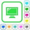Monitor vivid colored flat icons - Monitor vivid colored flat icons in curved borders on white background