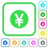 Yen sticker vivid colored flat icons - Yen sticker vivid colored flat icons in curved borders on white background