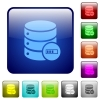 Database processing icons in rounded square color glossy button set - Database processing color square buttons
