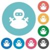 Ninja avatar flat white icons on round color backgrounds - Ninja avatar flat round icons