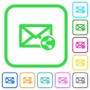 Share mail vivid colored flat icons - Share mail vivid colored flat icons in curved borders on white background