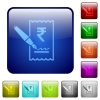 Signing Rupee cheque icons in rounded square color glossy button set - Signing Rupee cheque color square buttons