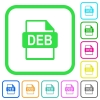 DEB file format vivid colored flat icons - DEB file format vivid colored flat icons in curved borders on white background