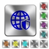 Internet security rounded square steel buttons - Internet security engraved icons on rounded square glossy steel buttons