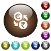 Euro Rupee money exchange color glass buttons - Euro Rupee money exchange white icons on round color glass buttons