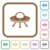 UFO simple icons in color rounded square frames on white background - UFO simple icons