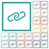 Paperclip flat color icons with quadrant frames - Paperclip flat color icons with quadrant frames on white background