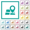 Location pin on map flat color icons with quadrant frames - Location pin on map flat color icons with quadrant frames on white background