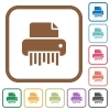 Office shredder simple icons - Office shredder simple icons in color rounded square frames on white background